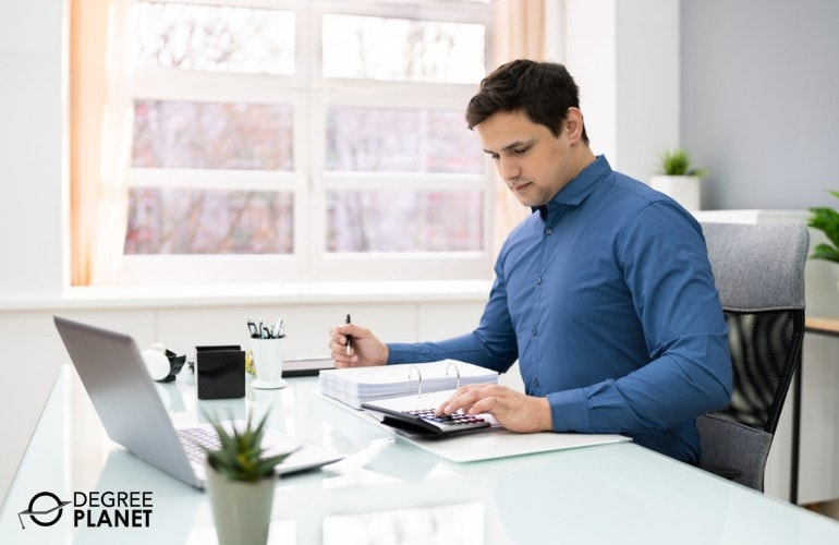 accountant working in his office