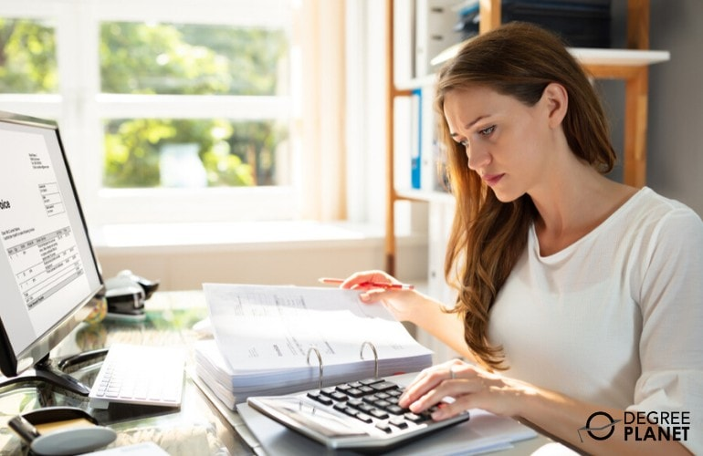 accountant working on invoices