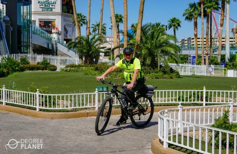 security officer biking around Mandalay bay