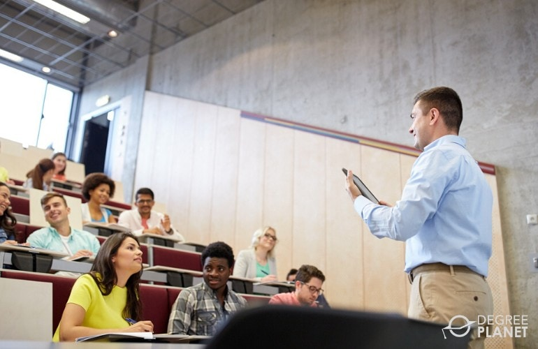 university professor teaching in a classroom