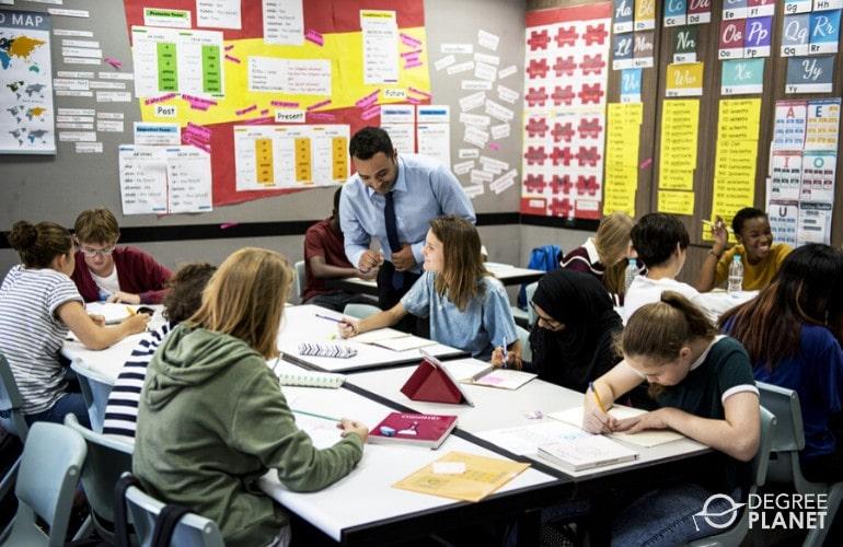 high school teacher teaching students in classroom