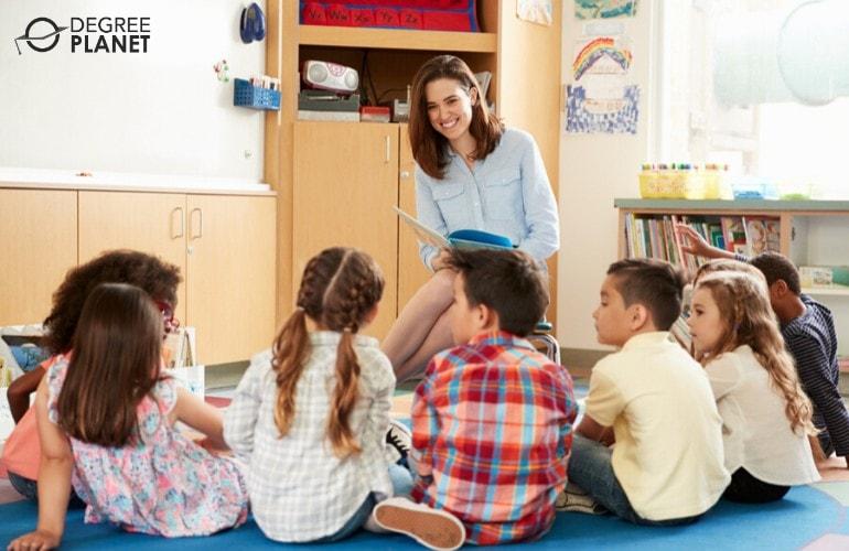 preschool teacher reading a book to children