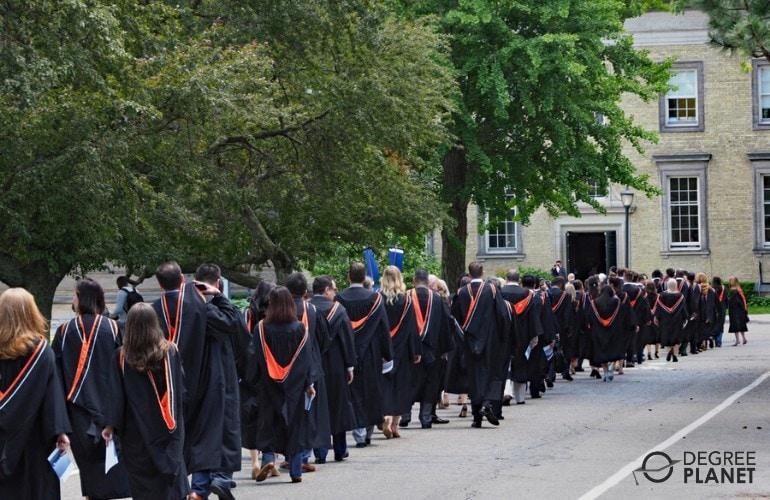 graduating students lining up during university graduation