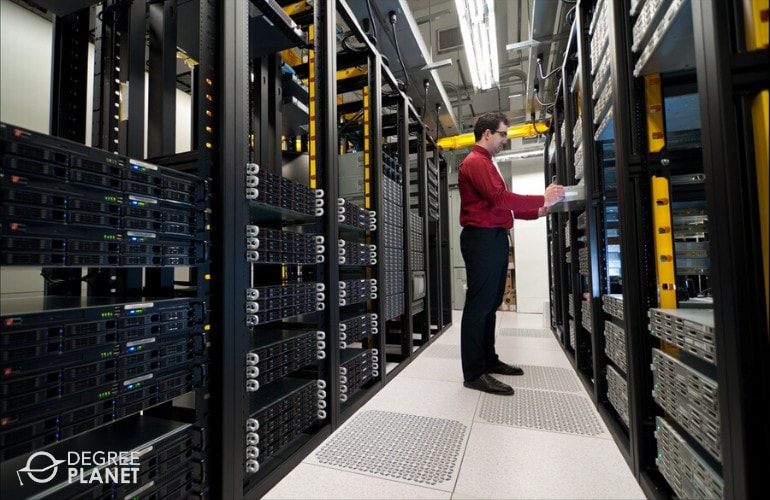 network administrator working in data room