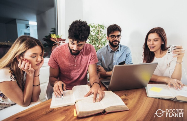 group of students studying online at home