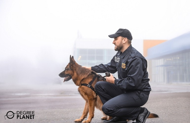 police officer with his dog during training