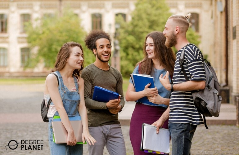 college students walking together in campus