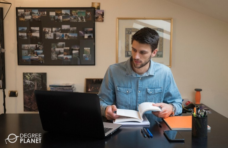 web design student studying at home