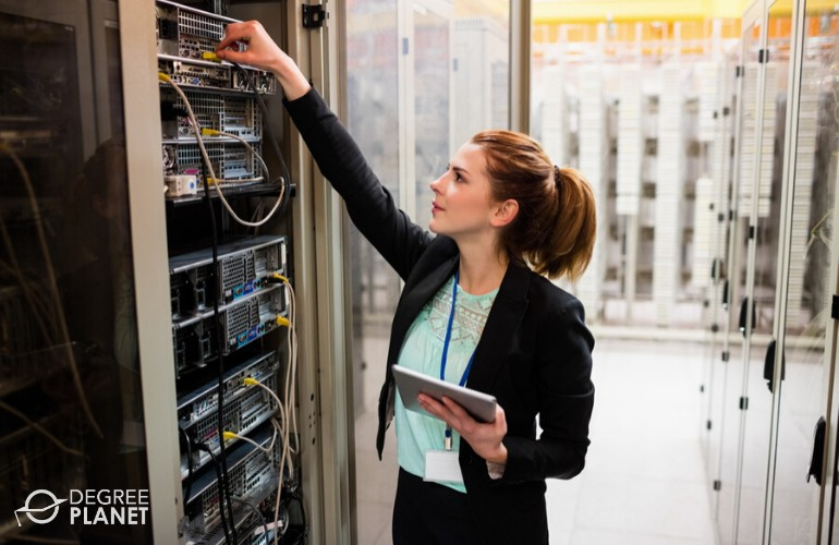 data administrator checking the data center