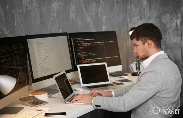 cyber security analyst working in his office
