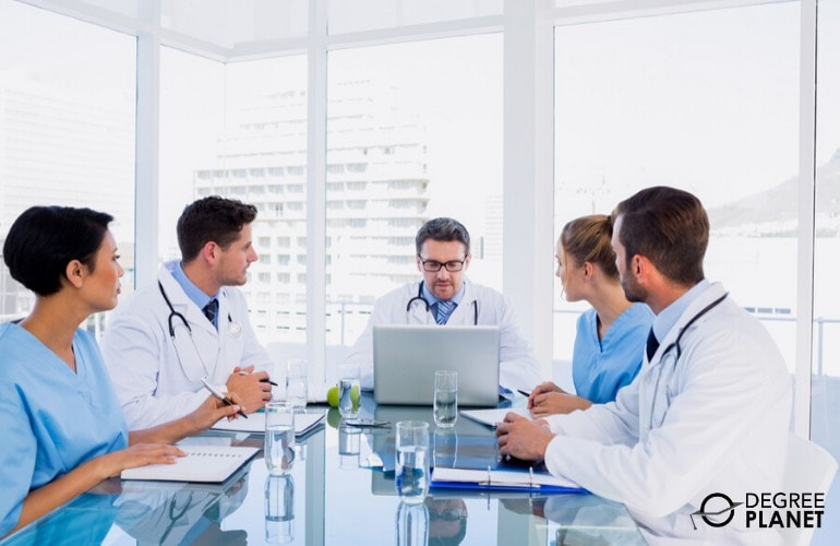 healthcare administrators in a meeting