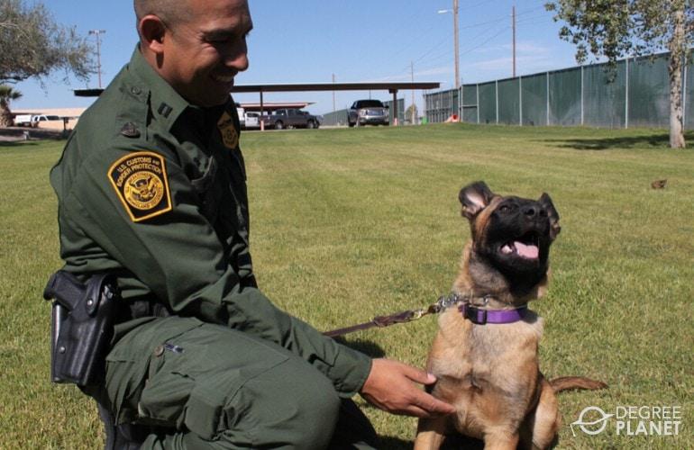 customs officer training his dog