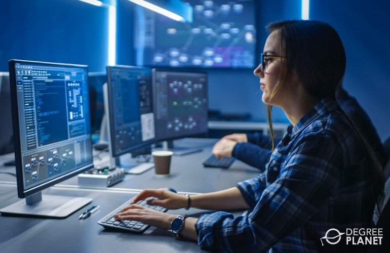 cyber security specialist working in data center