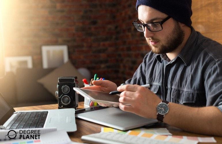 web designer working on the design of a website
