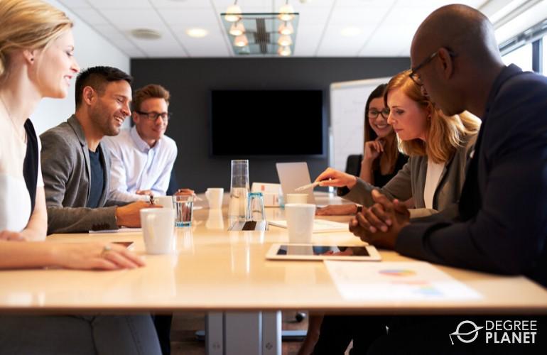 marketing team sharing their ideas in a meeting