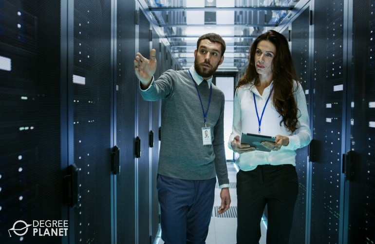 network administrators checking data room