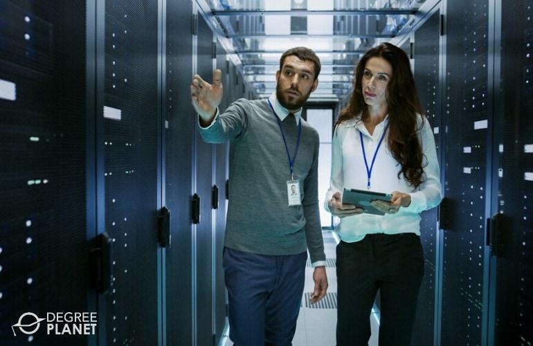 network administrators checking data room