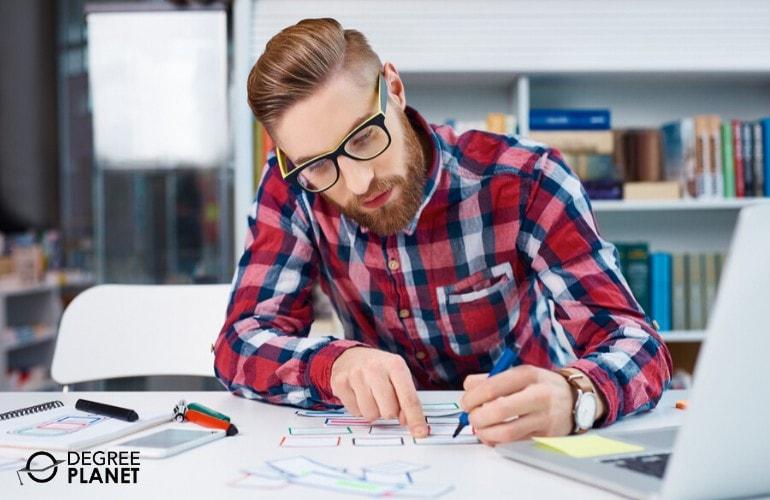 web designer working in his office