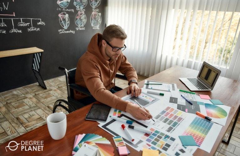 web designer working at home