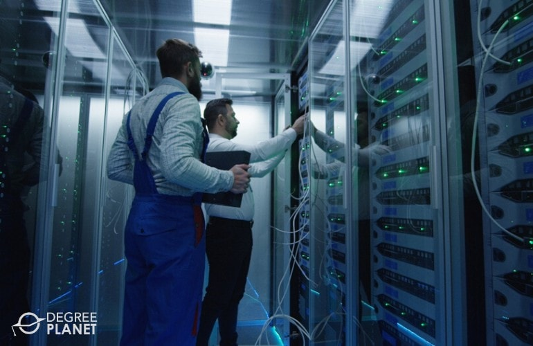 cyber security analysts checking the data room