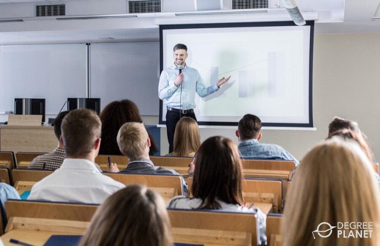 university professor teaching college students
