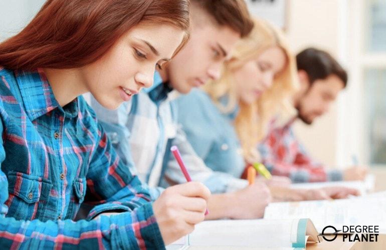 associates degree students taking an exam