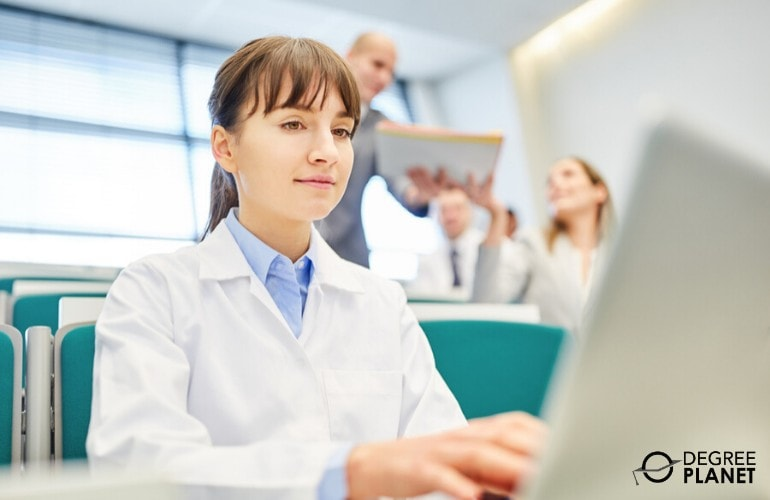 Healthcare Administration student searching for scholarships online
