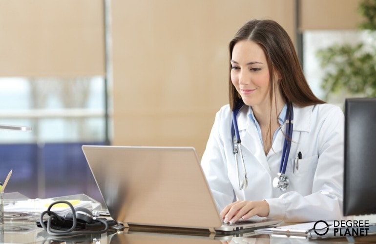 Masters in Healthcare Administration Degree student studying online