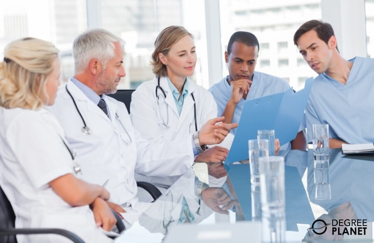 Health Services Managers in a meeting