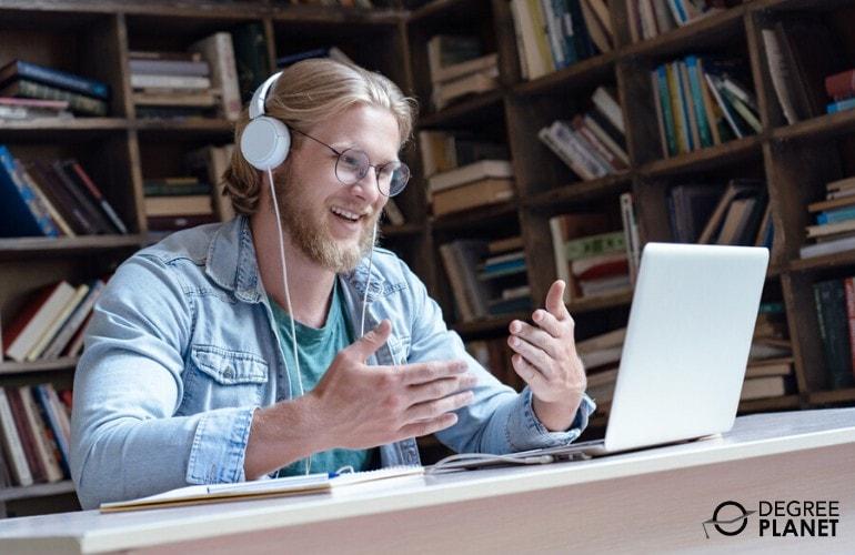 Human Services Degrees student attending an online class