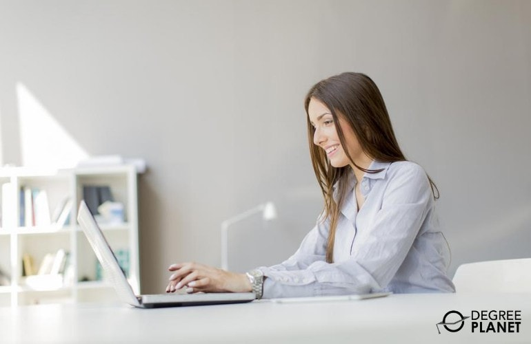Real Estate agent working online at home