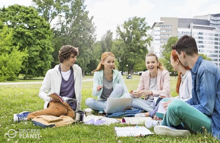 Interdisciplinary Studies students studying in university campus
