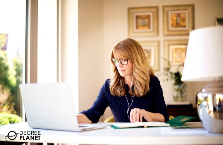 Doctor of Business Administration Degree student studying at home