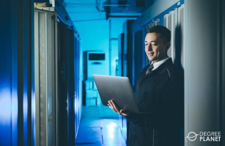software engineer checking the connection in data center