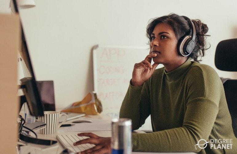 Software Developer working on her computer