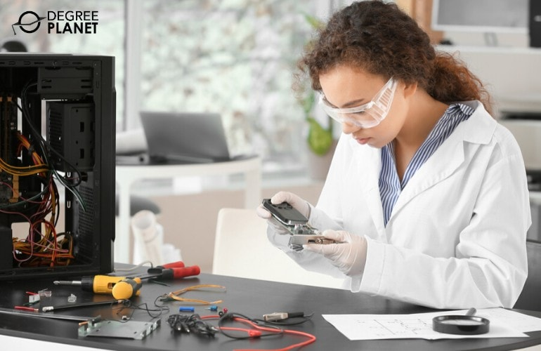Hardware Engineer testing computer parts in a laboratory