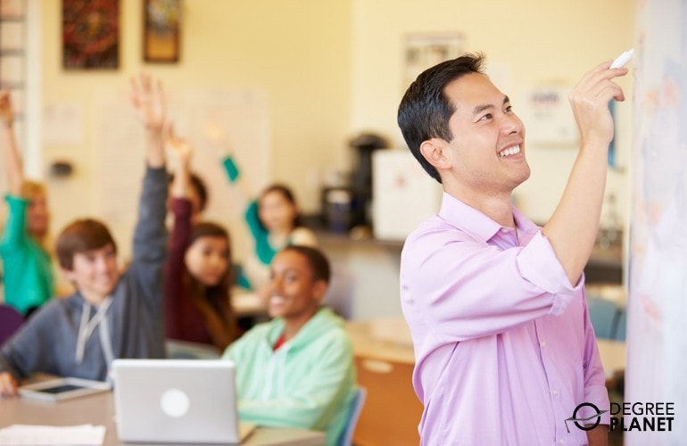 High School Teacher teaching students in a classroom