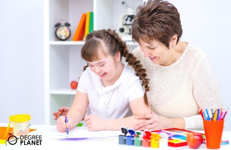 special education teacher teaching a child