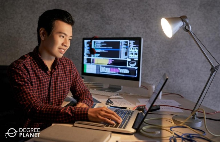 Master's in Computer Engineering student studying online at home