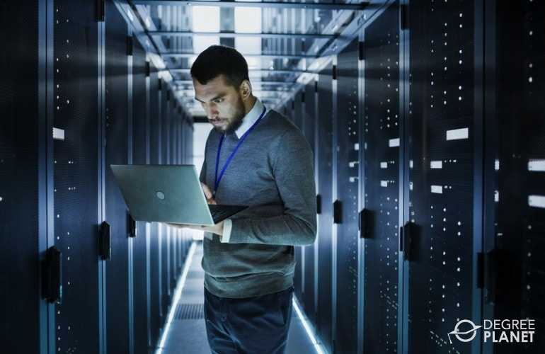 Information security analyst working in data center