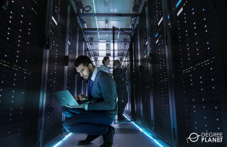 Information Security Analyst working in a data center