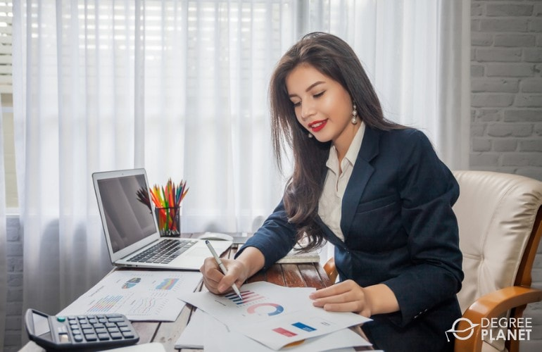 Financial Manager working in her office