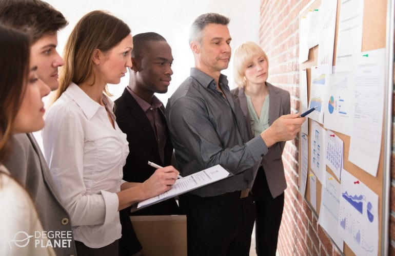 marketing team looking at data board during a meeting