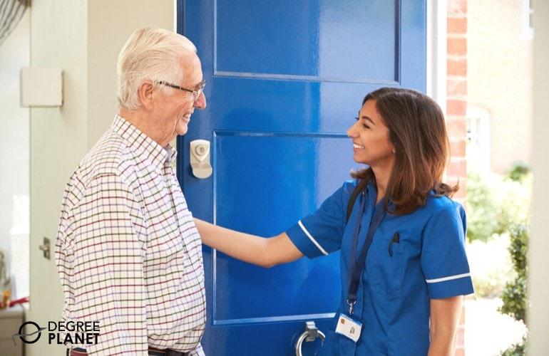 Social worker visiting an elderly patient