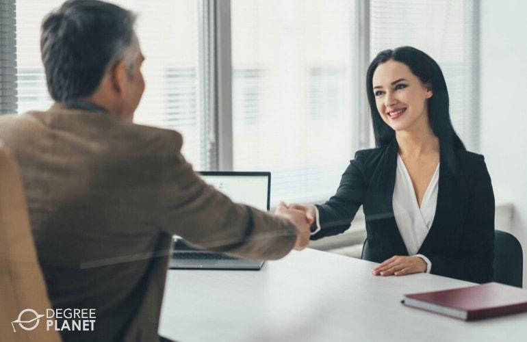 HR Manager congratulating a new employee