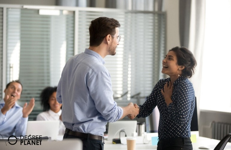 Company employee got promoted at work