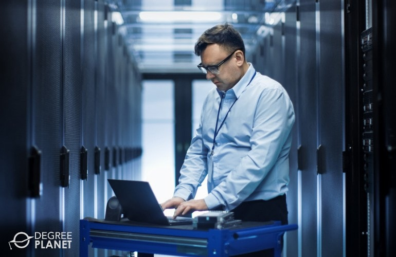 Computer and Information Systems Manager working in data room