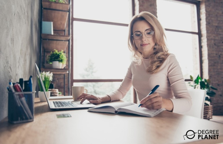 accountant working at home