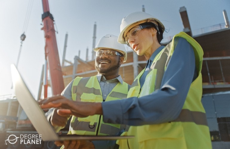 Civil Engineers working in a construction site