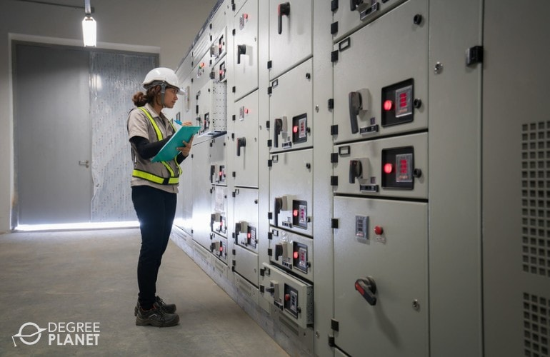 Electrical Engineers checking the electrical substation